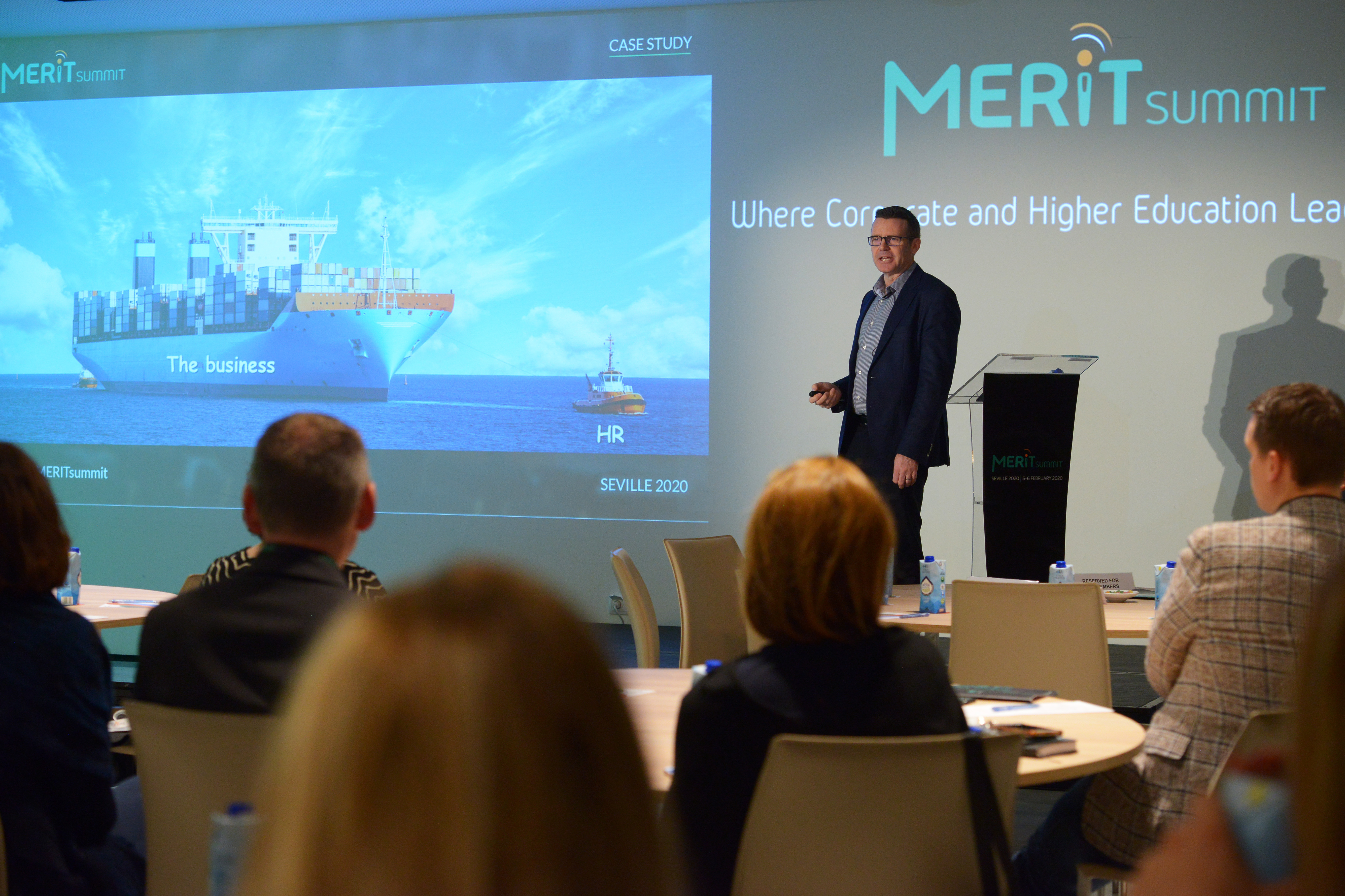 James Purvis, Head of HR, CERN, presents a case study of HR biases at the MERIT Annual Summit