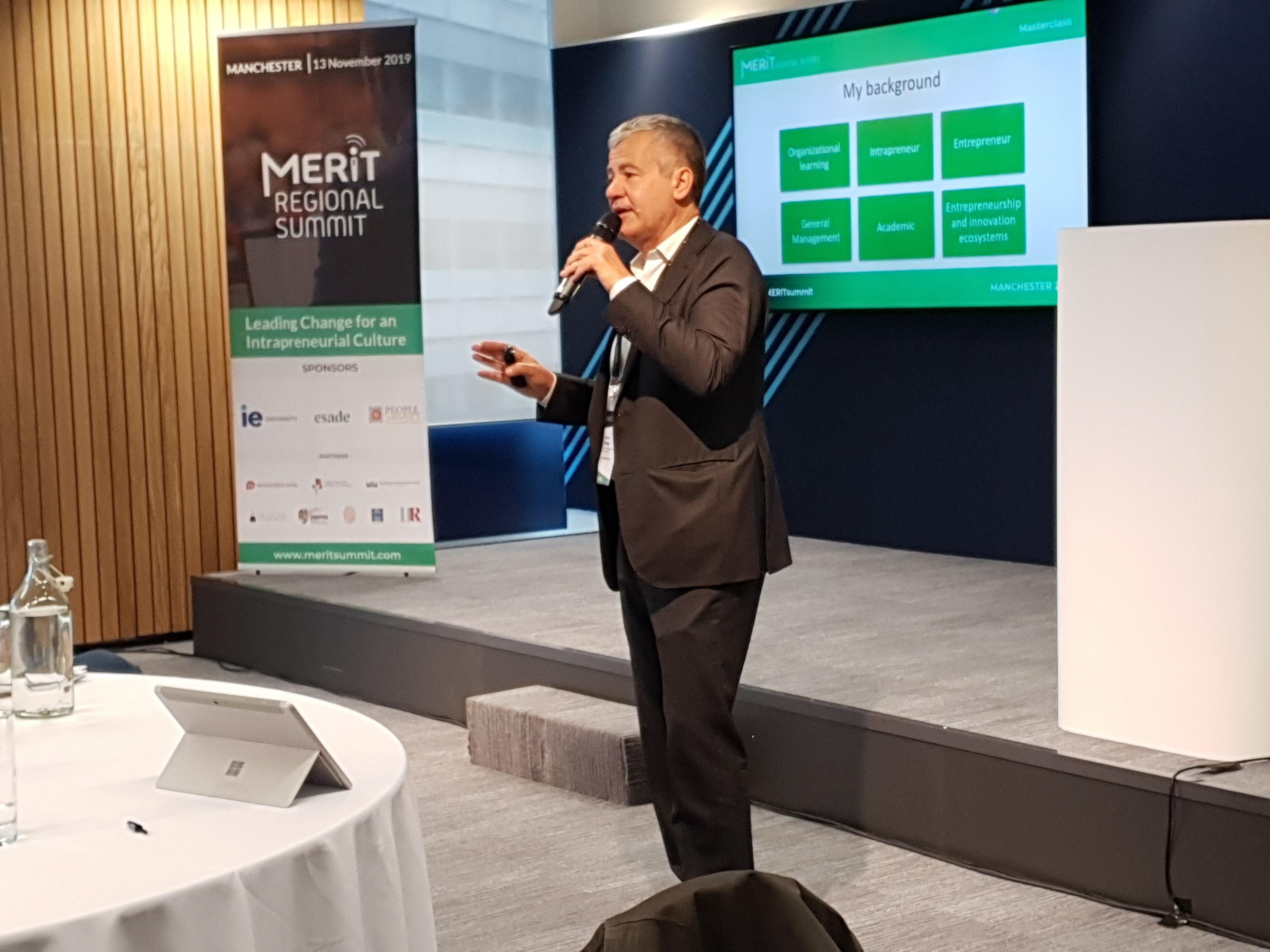 Professor Guillermo Cisneros of ESADE delivers a masterclass on intrapreneurship at the MERIT Regional Summit in Manchester.